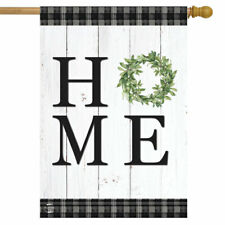 """Home Everyday House Flag Double-Sided Rustic Wreath 28"""" x 40"""" Briarwood Lane"""
