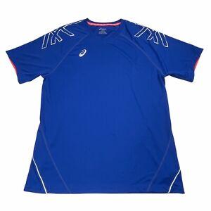 Asics T Shirt Mens Large Blue Active Short Sleeve Tee Reflective Shoulder