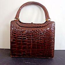 Vintage German C 1940 Brown Alligator Handbag Excellent Inv 2068