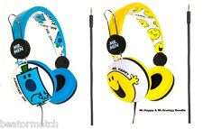 Mr Men & Little Miss Headphones Boys Girls Kids Tangle Free Cable Gift Pack x2