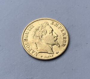 1865 Gold French 10 Franc coin of Napoleon III. Paris mint.