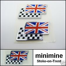 Classic Mini Union Jack Bandiera a Scacchi BADGE COPPIA AUTO MG AUTENTICO ROVER BRITISH
