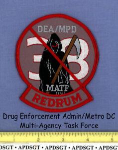 DEA METRO DC HOMICIDE WASHINGTON DC Federal Police Patch GRIM REAPER DRUG SKULL