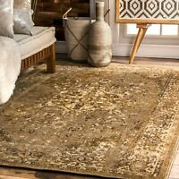 nuLOOM Overdyed Vintage Traditional Distressed Area Rug in Natural Tan