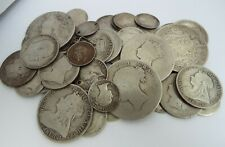 COLLECTION HEAVY 188g PRE 1920 ENGLISH ANTIQUE SOLID STERLING SILVER COINS