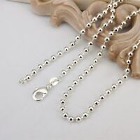 """NICKEL FREE SOLID 925 STERLING SILVER PLATED BALL CHAIN DOG TAG NECKLACE 24"""""""