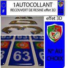1 sticker plaque immatriculation auto DOMING RESINE BENFICA PORTUGAL N° AU CHOIX