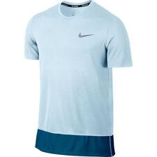 Nike para hombres mangas cortas de correr rápido de aliento Camiseta (Glaciar Azul). medio.