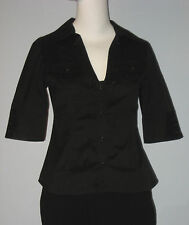 MARCIANO Size S Black 3/4 Sleeve V-Neckline Blouse