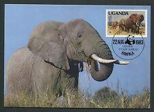 UGANDA MK FAUNA ELEFANTEN ELEPHANTS MAXIMUMKARTE CARTE MAXIMUM CARD MC CM m115
