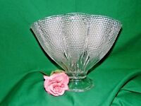 Large Vintage Pillow Fan Vase Clear Hobnail Bubble Beaded 1000 Clear  L.E.Smith