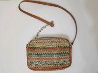 Bimba y Lola Leather Straw Woven Chain Crossbody Shoulder Bag