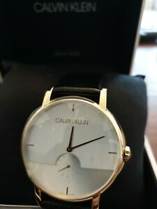 Calvin Klein swiss made man watch real leather stripe RRP £269