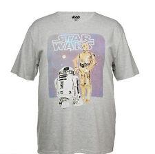 Men's Mr Big Star Wars R2d2 & C3po Short Sleeved T-shirt - Grey 3xl