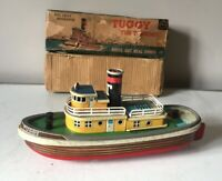 """SAN MARUSAN JAPAN TINPLATE BATTERY OPERATED """"TUGGY"""" THE TUGBOAT ~ WORKING ORDER"""