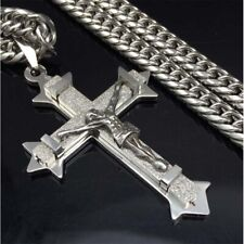Stainless Steel Link Chain Necklace Silver Christ Jesus Cross Pendant Necklace
