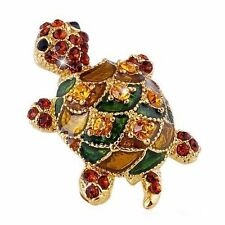 Gold Sea Turtle Pin Brooch Plated Enamel Crystal Jeweled Green Brown Yellow USA