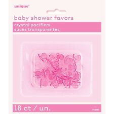 Crystal Pink Mini Dummies / Pacifiers 18 PK Baby Shower Party Charms