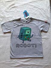 BNWT Boys Sz 8 Official Adventure Time BMO Short Sleeve Grey Tee Shirt Top