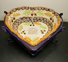"Temptations ""Harvest"" Gather Heart Shaped Baking Dish with Purple Holder"