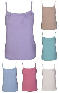 New Womens Plain Cotton Stretch Camisole Vest Tank Top Ladies Strappy Camisole