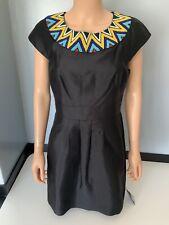 Tibi NEW black Dress Size Us8 Uk 10/12 Bnwts Beaded Silk Blend Collar Detail