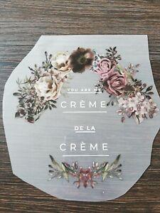 Color Bügeltransfer großes Bügelbild Applikation Blumenranke Creme de la Creme