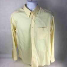 Lacoste Mens Button Down Shirt Yellow Stripe Long Cuffed Sleeve Pocket Cotton 42