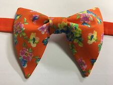 Handmade Orange Floral Bow tie Vintage style 70`s Bowtie Pre-tied Adjustable