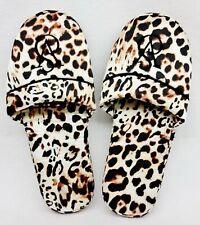 1 Victoria's Secret CHEETAH Leopard Satin Logo Bedroom PJ Slippers LARGE 9 10