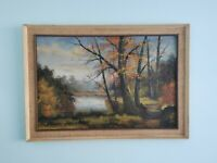 LARGE Vintage retro 70's original oil painting signed framed woodland scene MCM