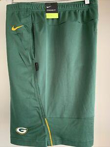 Nike NFL Green Bay Packers DRI-FIT COACHES SHORTS Green NKDN-063K Men's L NWT