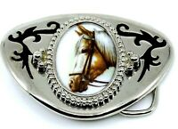 Big Horse Belt Buckle Western Wear Equestrian Gift for Cowboy Jockey Silvertone