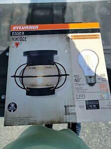 Sylvania ESSEX Cage LED Light Semi-Flush Mount Antique Matte Black Vintage-Look