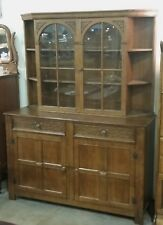 Vintage English Oak Buffet Display Cabinet Hutch Sideboard Los Angeles Area