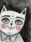 Watercolor ACEO original art painting Lovely Elika-Blue Cat Animal Moon Star