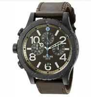 New Nixon 48-20 Chronograph A3632209 Brown Dial Brown Leather Band Men's Watch