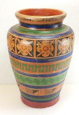 Vintage Ladislao Ortega Mexican Tourist Pottery Vase Mayan Revival Souvenir