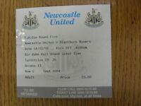 14/02/1999 Ticket: Newcastle United v Blackburn Rovers [FA Cup] (folded). Footy
