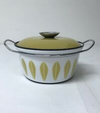 "CathrineHolm Norway Enamal 8"" Casserole Dutch Oven w/ Handle White Gold Lotus"