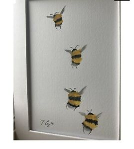 Bumble Bees Flying Original Watercolour Painting, Signed Art Not A Print