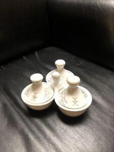 Moroccan Ceramic 3 Spice Dish w/ Lids