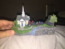 Thomas Kinkade Lighted Forest Chapel Church Inspirational/Business Card Holder