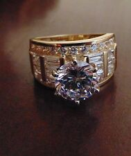 Solid 14k Yellow Gold 4.0ct Man Made Diamond Band Engagement Wedding Ring size 8