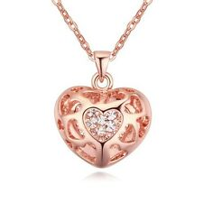 GORGEOUS 18K ROSE GOLD PLATED & GENUINE CZ & AUSTRIAN CRYSTAL HEART NECKLACE