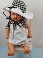 1940s Composition Pot Jointed doll with detailed eyes  cute black & white outfit