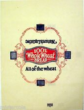 Vintage bread wrapper 100 percent WHOLE WHEAT All of the Wheat new old stock