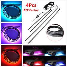 4Pcs RGB 5050 LED APP Control Car Underglow Kit Underbody Neon Tube Light Strips