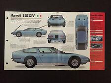 1972 MASERATI INDY IMP Hot Cars Spec Sheet Folder Brochure RARE