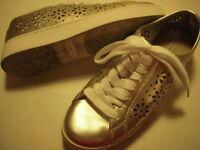 Isaac Mizrahi Live Tamara SOHO Lace-Up Sneakers Womens Shoes 7.5 M Pale Gold +